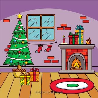 귀여운 손으로 그린 크리스마스 배경