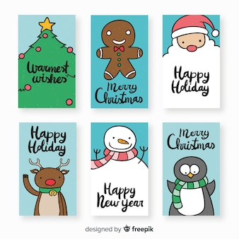 Lovely hand drawn christmas card collection