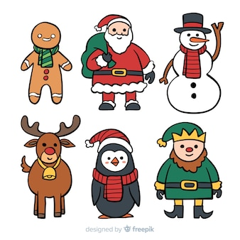 Lovely hand drawn christmas character collection