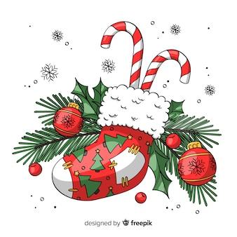 Прекрасное украшение на рождество Бесплатные векторы