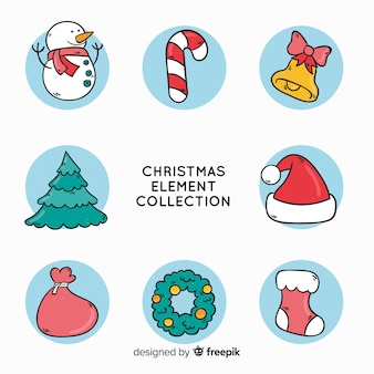 Lovely hand drawn christmas element collection