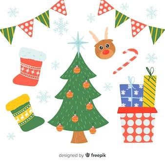 귀여운 손으로 그린 크리스마스 요소 컬렉션