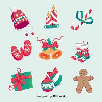 사랑스러운 손으로 그린 크리스마스 요소 컬렉션