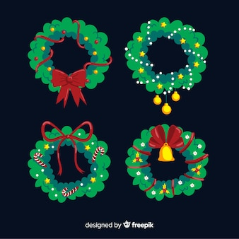 Lovely hand drawn christmas flower and wreath collection