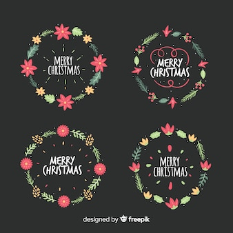 Lovely hand drawn christmas flower and wreath set