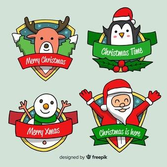 ラブリー手描きクリスマスラベルコレクション
