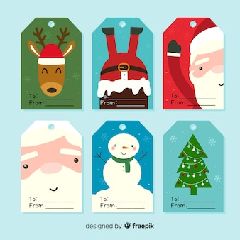 Lovely hand drawn christmas label collection