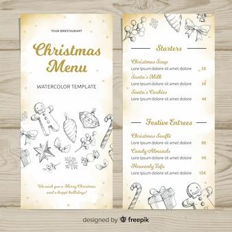 Lovely hand drawn christmas menu template