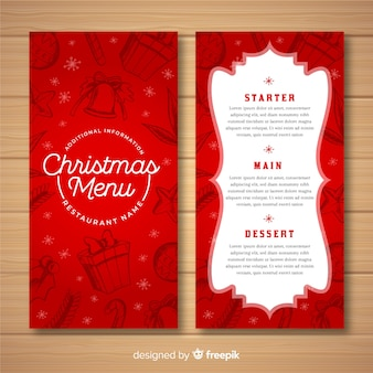 Lovely hand drawn christmas menu template