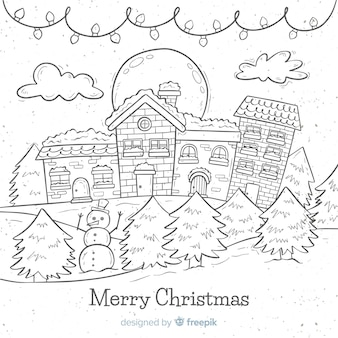 Lovely hand drawn christmas town