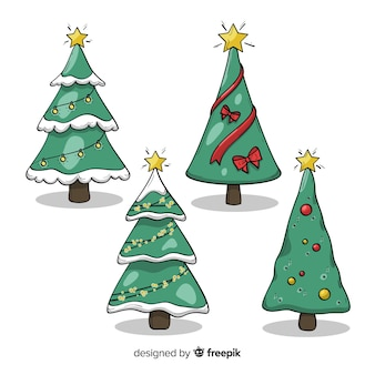 Lovely hand drawn christmas tree collection