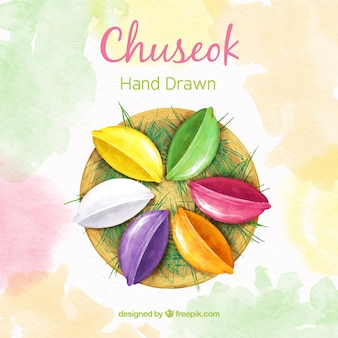 Lovely hand drawn chuseok composition