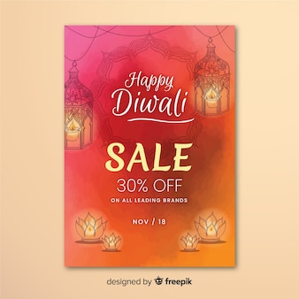 Lovely hand drawn diwali sale flyer template