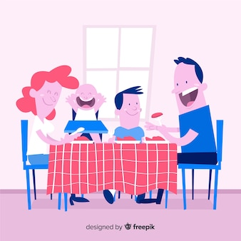 Lovely hand drawn family at home