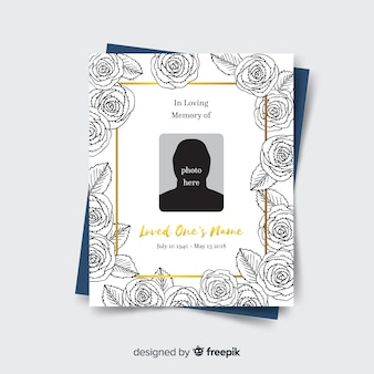 Lovely hand drawn funeral card template