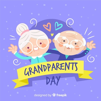 Lovely hand drawn grandparents' day composition