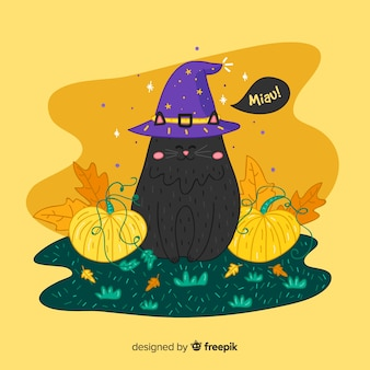 Lovely hand drawn halloween black cat