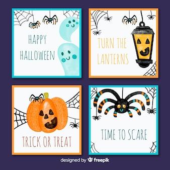 Collezione di carte di halloween disegnata a mano bella