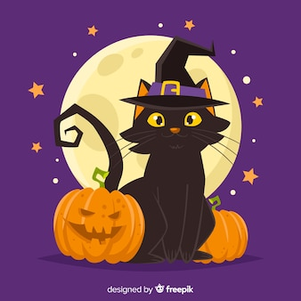 Lovely hand drawn halloween cat