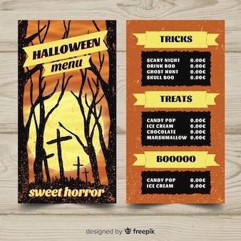 Lovely hand drawn halloween menu template