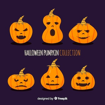 Lovely hand drawn halloween pumpkin collection