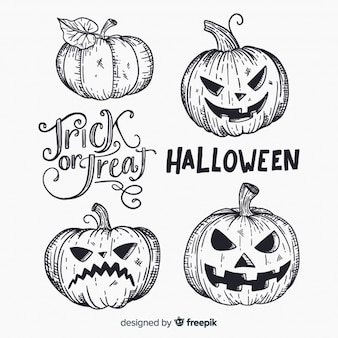 Lovely hand drawn halloween pumpkin collection
