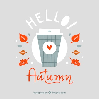 Lovely hand drawn hello autumn background