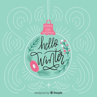 Lovely hand drawn hello winter composition