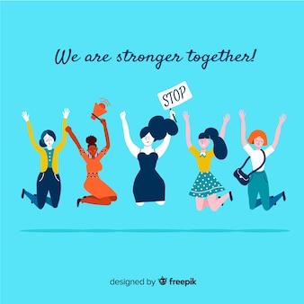 사랑스러운 손으로 그린 여성 국제 그룹