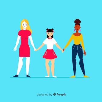 Lovely hand drawn international group of women