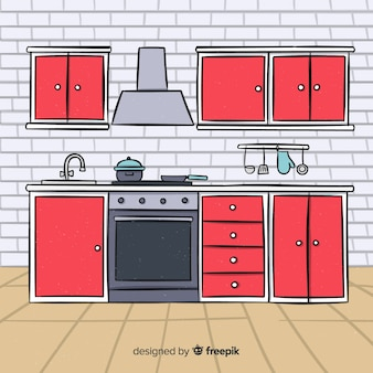 Disegnato a mano cucina design d'interni
