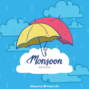 Lovely hand drawn monsoon season composition