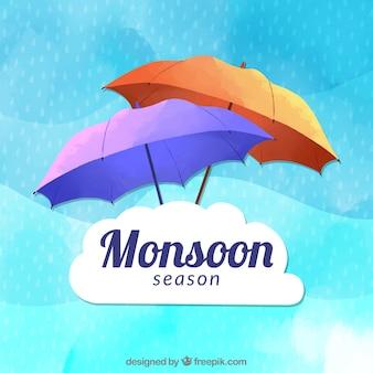 素敵な手がモンスーンの季節の組成を描いた