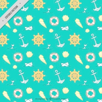 Lovely hand drawn nautical elements pattern