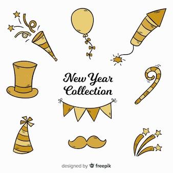 Collezione di elementi di partito di nuovo anno disegnato a mano incantevole