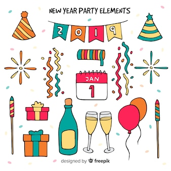 Lovely hand drawn new year party element collection