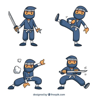 Lovely hand drawn ninja character collection