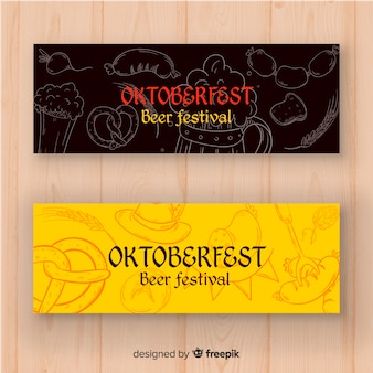 Lovely hand drawn oktoberfest banners