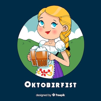 Lovely hand drawn oktoberfest composition