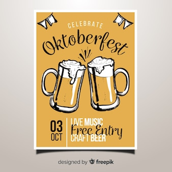 Lovely hand drawn oktoberfest party poster