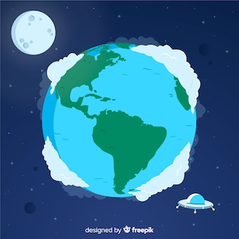 Lovely hand drawn planet earth composition