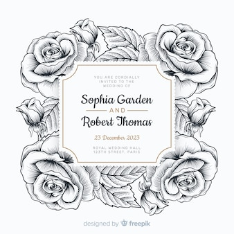Lovely hand drawn roses and a wedding invitation