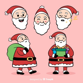 Lovely hand drawn santa claus character collection
