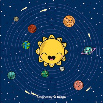 Lovely hand drawn solar system compositio