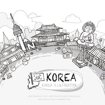사랑스러운 손으로 그린 한국 여행 포스터