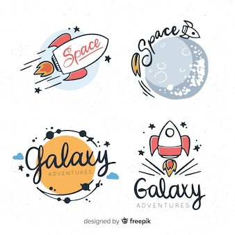 Lovely hand drawn space badge collection