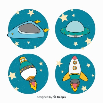 Lovely hand drawn spaceship collection