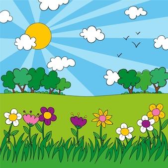 Lovely hand drawn spring landscape