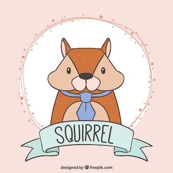 Bella mano scoiattolo disegnato con una cravatta blu