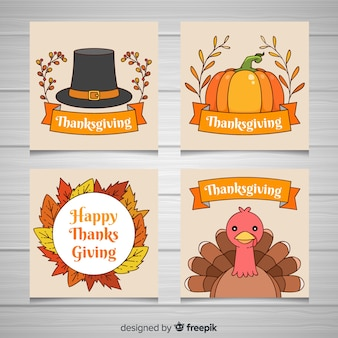 Lovely hand drawn thanksgiving card collection